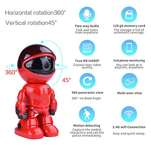 Hd 960P Wireless Ip Camera Robot 1 3Mp Security Camera Night Vision Alarm Audio Baby Monitor Pan Tilt Remote Home Security P2p Ir Night Vision For Mobile Android Ios And Laptop  Red