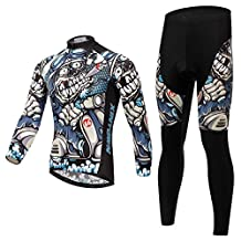 BESYL Unisex Blue Black Skull Cigar Motorcycle Printed High-Performance Mesh Cycling Clothing Kit, Cycling Jerseys Short Sleeve and Shorts Suit for Bike, Biker, Bicycle, Riding