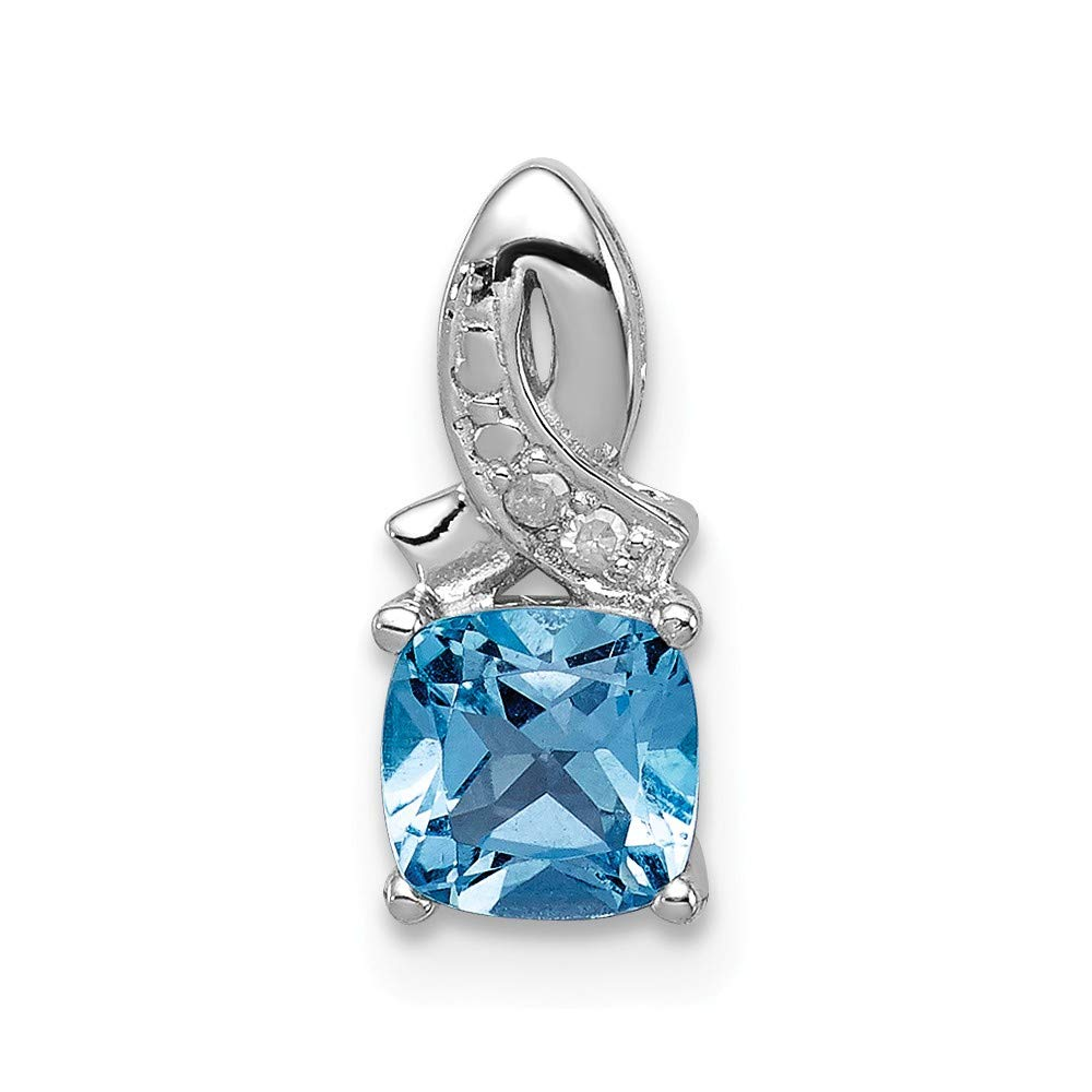 Sterling Silver Jewelry Pendants /& Charms Solid 5 mm 13 mm Light SwiBlue Topaz Diamond Pendant