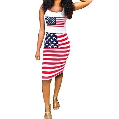 b4c28a7e31232 Women Set Dress Sleeveless Halter American Flag Print Crop Tops  Blouse+Tight Skirt Outfit (