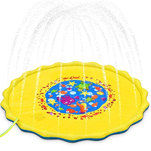 Dciko Splash Play Mat for Kids Sprinkler Pad Wading Pool Fun Backyard Play Mats for Boys Girls Children Infants Toddlers-68 Large Size Inflatable Sprinkler Pad Sea Theme Summer Outdoor Water Toys