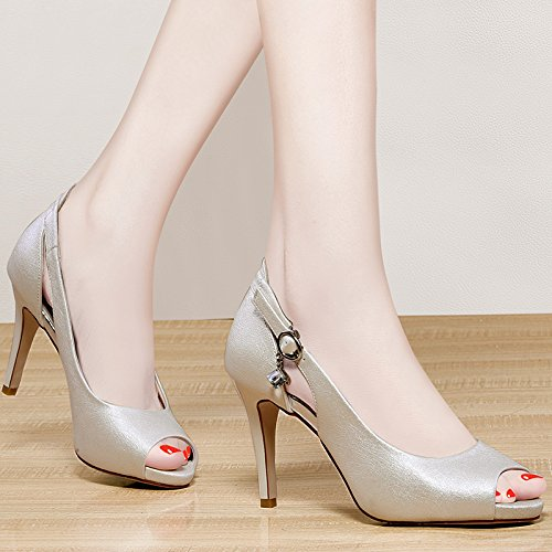 Jqdyl High Heels Fish Mouth Sandalen Schuhe High Heels Sommer Mittleren Alters Mutter Damen Schuhe  37|Beige