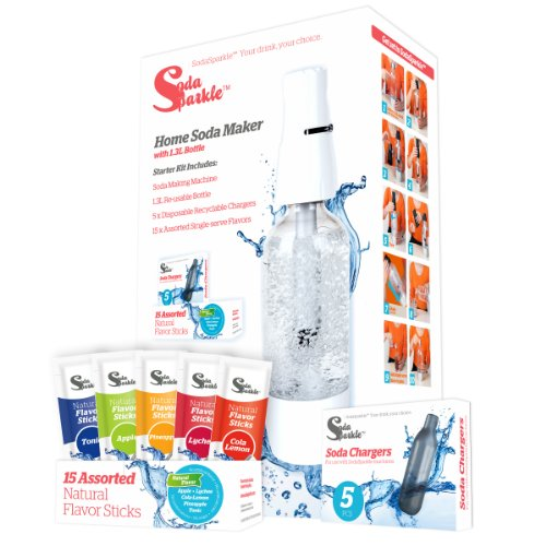 SodaSparkle Compact and Safe DIY Carbonated Soft Drink Maker Starter Kit with Eco-Friendly Bottle by SodaSparkle