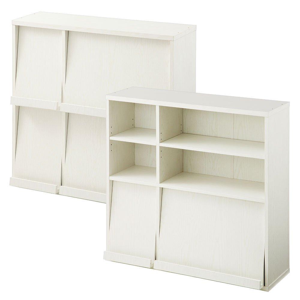 ぼん家具 【組立不要の完成品+設置サービス】 ディスプレイラック 2台セット 木製 棚 幅92×高さ90 ホワイト B079NXP2D4 ホワイト 完成品+開梱設置