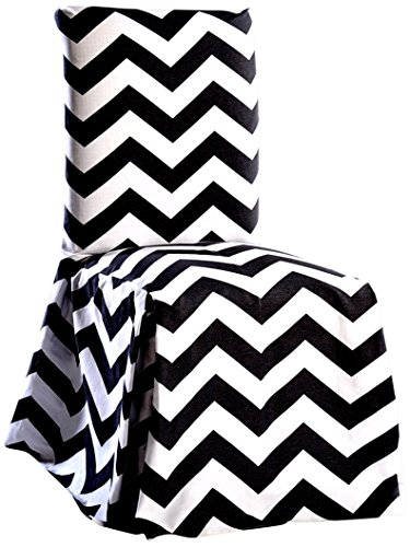 Classic Slipcovers CHEVRDRC Chevron Dining Chair, Black/White ()