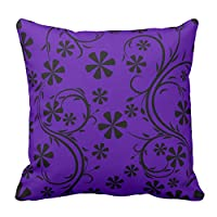 Floral Design Deep Purple and Black Flower Pattern Throw Pillow Cover Case Pillowcase For Bed Sofa Decorative