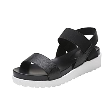 7eb9d2b8a757 YOUJIA Womens Summer Platform Roman Sandals Peep Toe Elastic Strap Flats  Slippers Beach Shoes (Black
