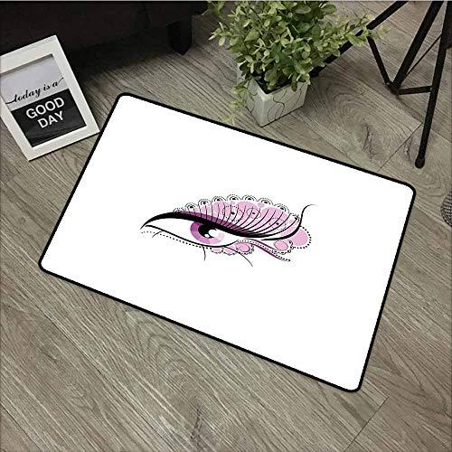 - LOVEEO Bedroom Doormat,Eyelash Abstract Eye with Big Pink Dots Circles and Floral Feminine Details,Bathroom mat,29