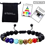Essential Oil Diffuser Bracelet- 7 Chakra Lava Stone Bracelet- Aromatherapy Chakra Bracelet- Healing Stones Anxiety Bracelet- Just Add Oil To Lava Beads To Improve Focus & Mood (1 Pack & 3 Pack)