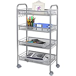 Lifewit 4-Tier Basket Trolley for Kitchen Bathroom Full-Metal Rolling Storage Cart with Lockable Wheels,Movable Side Hook