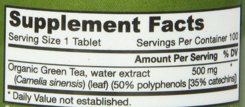 Jarrow Formulas Green Tea Organic, Supports Cardiovascular & Immune Health, 500 mg, 100 Tabs