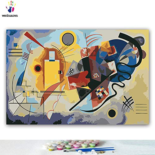 Paint by Number Kits 12 x 18 inch Canvas DIY Oil Painting for Kids, Students, Adults Beginner with Brushes and Acrylic Pigment -Kandinsky Geometric Abstract Painting(Without Frame)