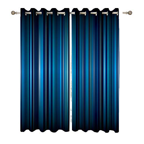 DUISE Abstract Background Blackout Grommet Curtains, Bright Blue Stripe with Ribbon Effect, for Living Room Bedroom Light Blocking Curtains, Window Drapes 2 Panels Set, 108W X 84L Inches ()