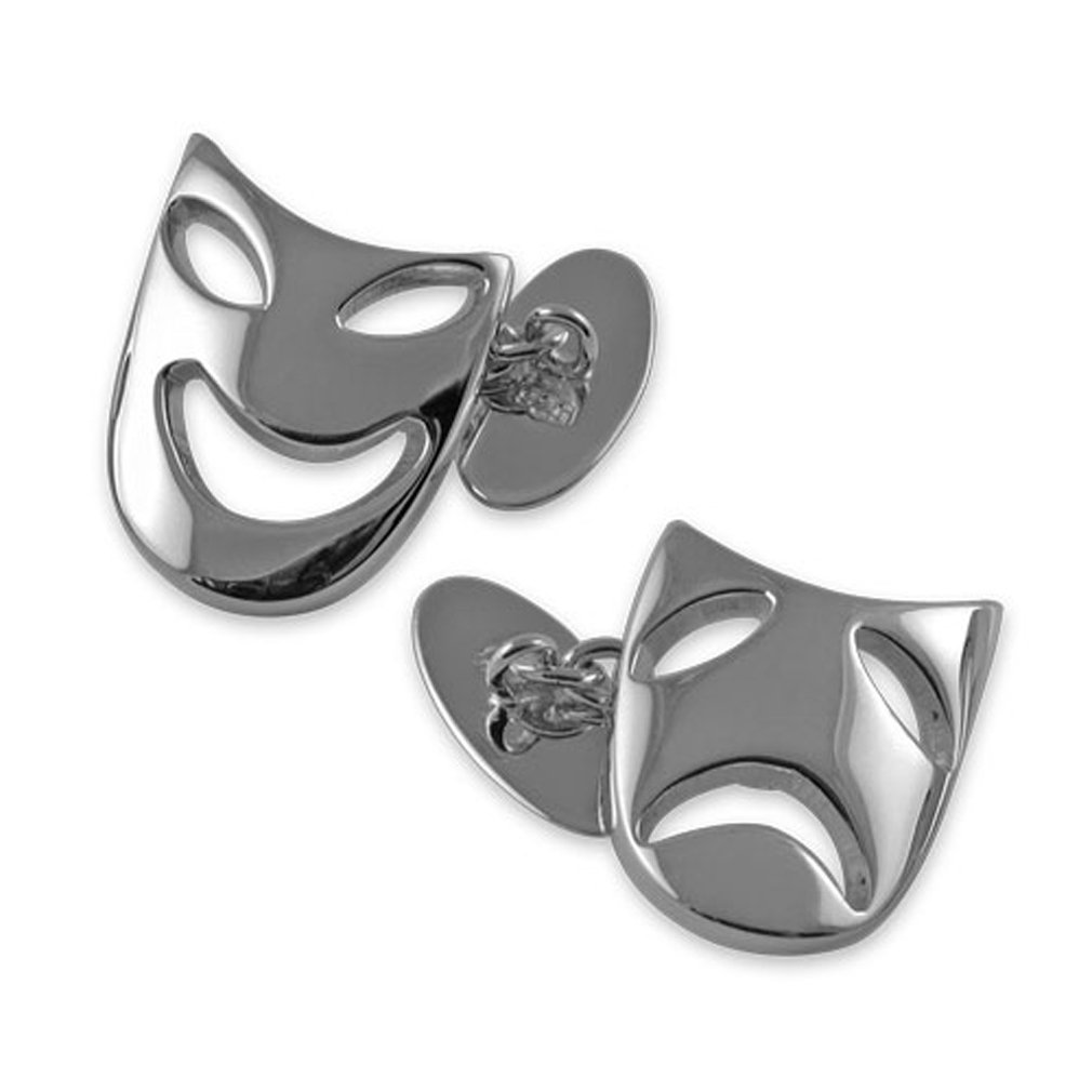Select Gifts Sterling Silver Comedy & Tragedy mask Cufflinks