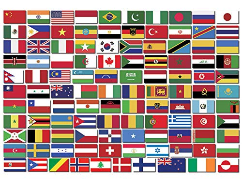 MAGNET Sheet of Top 110 WORLD COUNTRY Flag Stickers - scrapbooking countries small set Magnetic vinyl bumper sticker sticks to any metal fridge, car, signs