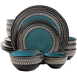 Gibson Elite Café Versailles 16 Piece Double Bowl Dinnerware Set, Blue