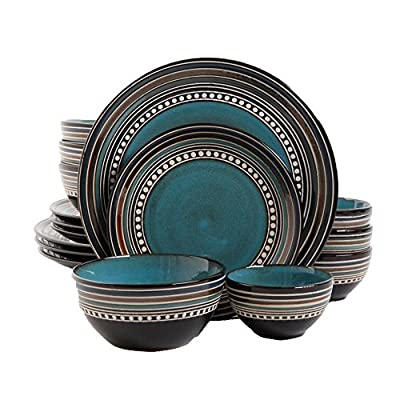 Gibson Elite Café Versailles 16 Piece Double Bowl Dinnerware Set, Blue - Shape: Round Product Features: Microwave Safe, Dishwasher Safe Material: Stoneware - kitchen-tabletop, kitchen-dining-room, dinnerware-sets - 51ky80tEtpL. SS400  -