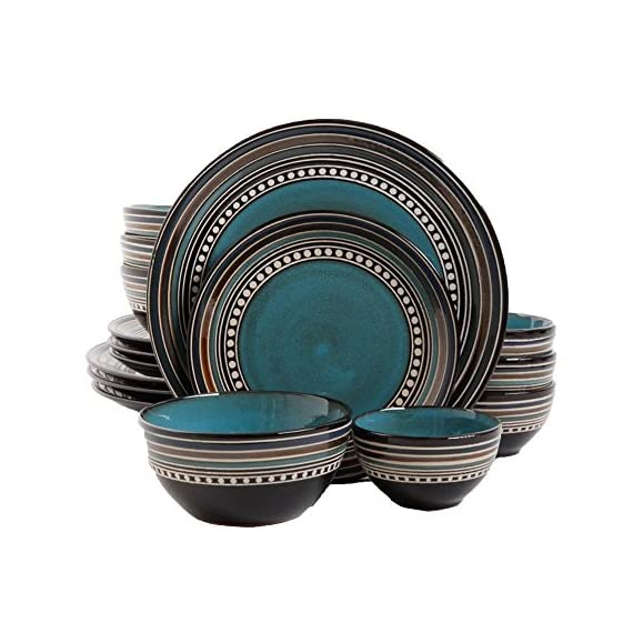 Gibson Elite Café Versailles 16 Piece Double Bowl Dinnerware Set, Blue -  - kitchen-tabletop, kitchen-dining-room, dinnerware-sets - 51ky80tEtpL. SS570  -