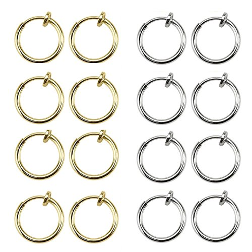 Areke Womens Fake Clip On Earrings Non Piercing Unisex Small Hoop Earring Fake Body Jewelry 8 Pairs Color Silver Gold