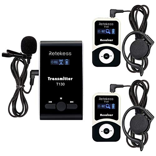 Retekess T130 99 Channel Wireless Tour Guide System Microphone Church Translation System for Interpretation Training Court(1 Transmitter 2 Receivers) ()
