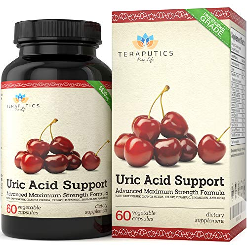 Uric Acid Support Formula | Advanced Uric Acid Cleanse & Kidney Support Supplement - Includes Tart Cherry Concentrate, Celery Seed Extract + 12 More High Potency Ingredients, 60 Veggie Capsules