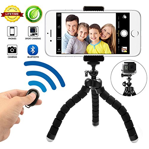 Phone Tripod Phone Stand with Bluetooth Camera Remote and Phone Holder for iPhone X 8/8s 7 7 Plus 6s Plus 6s 6 SE Samsung Galaxy S8 Plus S8 Edge S7 Action Camera GoPro/Akaso more (BLACK6) by KITWAY