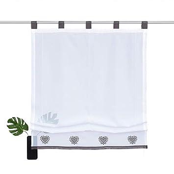 NECOHOME Transparente Raffrollo 1er Pack Voile Stickerei Vorhang im  Landhausstil Gardinen Deko für Schlaf-, Wohnzimmer oder Küche (Grau,  120x140cm)