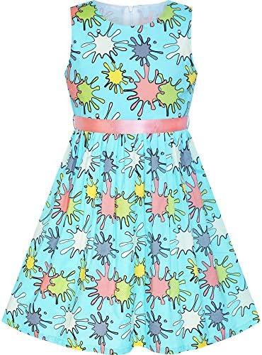 Sunny Fashion Girls Dress Blue Flower Print Children Clothing Size 2 10 Years