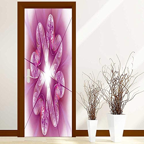 - L-QN Fashion Art Decor Door Sticker Computer Rendered Abstract Fractal Flower Motif Gathered an Axis Polar Graphic Work Pink for Home Decorations W23.6 x H78.7 inch
