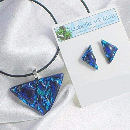 ORION dichroic fused glass jewelry pendant earring set with Necklace