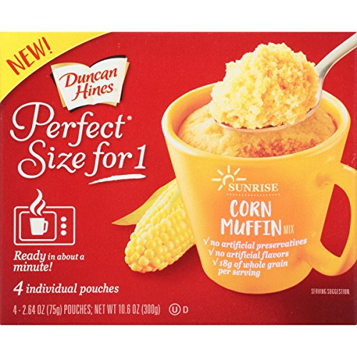 Duncan Hines Perfect Size for 1 Breakfast Muffin and Cake Mix, Corn Muffin, 4 individual pouches