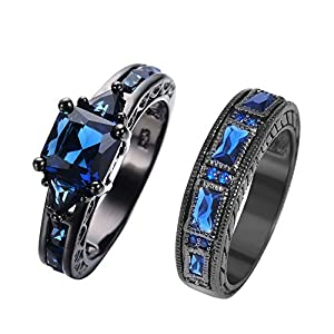 RongXing Jewelry New Sapphire Diamond Set Ring,14KT Black Gold Wedding Rings