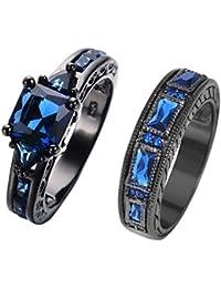 European Style Purple Amethyst Two Pieces Black Couple Rings for Women Mens(Women Sz5-10,Men Sz5-12)