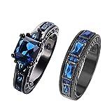 JunXin European Style Purple Amethyst Two Pieces Black Couple Rings for Women Mens(Women Sz5-10,Men Sz5-12) (Blue(Women Sz-8 & Men Sz-9))