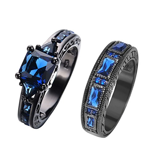JunXin European Style Purple Amethyst Two Pieces Black Couple Rings for Women Mens(Women Sz5-10,Men Sz5-12) (Blue(Women Sz-5 & Men Sz-8))