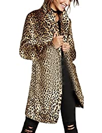 Rrive Womens Slim Fit Leopard Print Lapel Faux Fur Long Jacket Coat