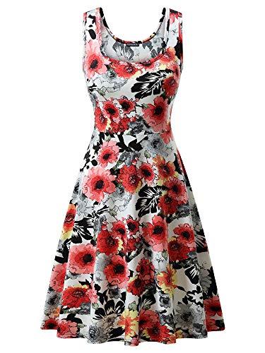 Women Line (FENSACE Women's Sleeveless A line Waistline Midi Dress Casual Flared Tank Dress)