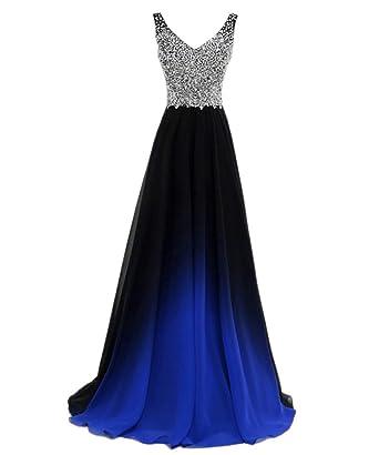 4ded4ebbd1d2 Beaded Top Gradient Color Evening Prom Dresses Long A Line Chiffon  Bridesmaid Dress Black&Blue 2
