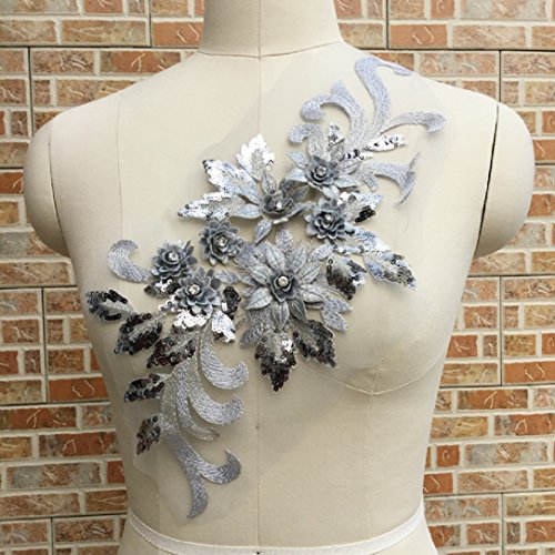 (YABINA 12 Colors Option 1PC 15.7x 6.7 inch Elegant 3D Floral Applique,Beaded,Sequined,Flower Patches Lace Appliques Sewing on Costume Evening Dress (Grey))