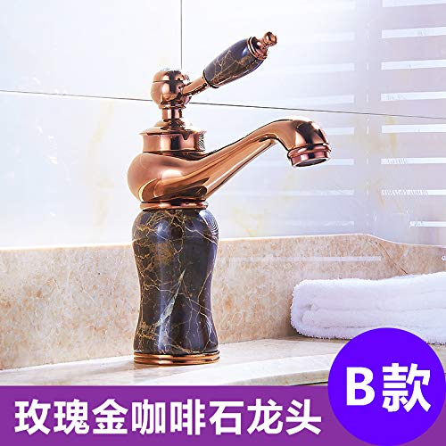 4 LHbox Basin Mixer Tap Bathroom Sink Faucet Euro-copper faucet hot and cold jade antique golden basin sink vanity table basin sinks, antique pink gold coffee mixer C
