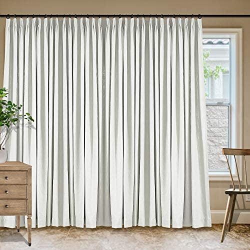 Frelement Extra Wide Room Darkening Linen Cotton Pinch Pleat Curtains 120W x 96L inches Privacy Off White Drape