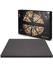 Navaris pizza sten XL för ugnsgrill gjord av kordierit - pizza stenugn tarte flambée - gasgrill vedkolspis rektangulär 38x30cm - glaserad