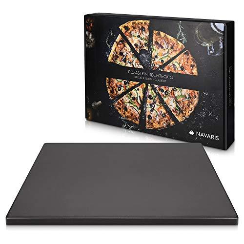 Navaris pizzasteen XL voor oven en barbecue – Rechthoekige pizzaplaat 38 x 30 cm – Broodbaksteen – Keramisch geglazuurd…