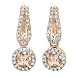 14K Rose Gold Round Morganite & White Diamond Ladies Halo Style Dangling Drop Earrings