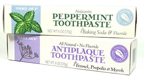 Trader Joe's ALL NATURAL ANTICAVITY PEPPERMINT toothpaste with BAKING SODA, and FLUORIDE (Peppermint Baking Soda)