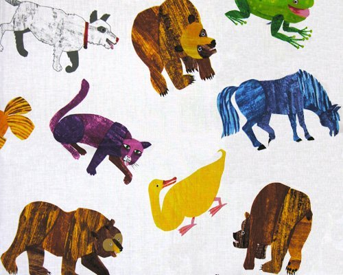 Brown Bear Brown Bear Painted Animals Multi Fabric by The Yard