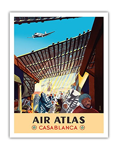Casablanca  Morocco   Air Atlas   Vintage Airline Travel Poster By Renluc C 1950   Fine Art Print   11In X 14In