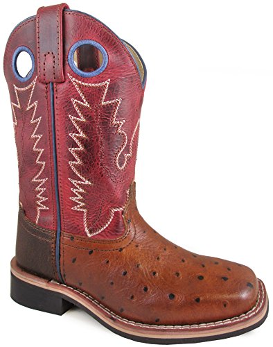 Smoky Mountain Youths' Cheyenne Pull On Square Toe Distressed Cognac/Red Crackle Boots - Leather Footwear Youth Brown Distressed