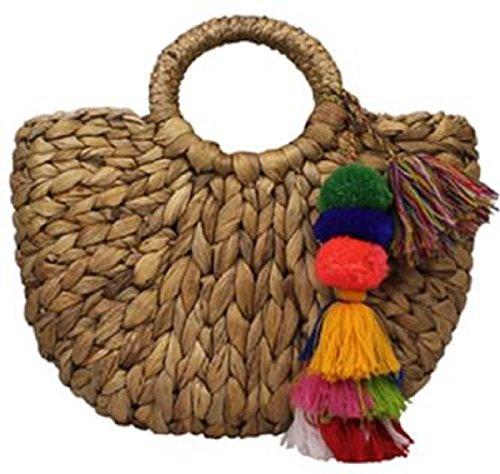 35052f8e76 Lush Leather Handmade Mini Rattan Straw with Pom Poms Basket Tote Bag