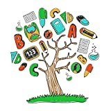 DecalMile Alphabet ABC Tree Kids Wall Decals Peel and Stick Removable Wall Stickers for Kids Nursery Bedroom Living Room